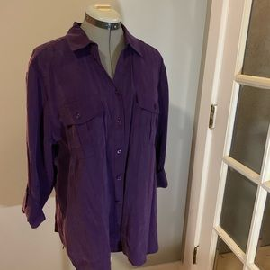 NWT Chico's purple button down, Sz 3
